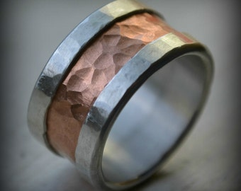 mens wedding band, fine silver and copper ring -  wide band ring - handmade artisan designed wedding band - manly wedding band - customized