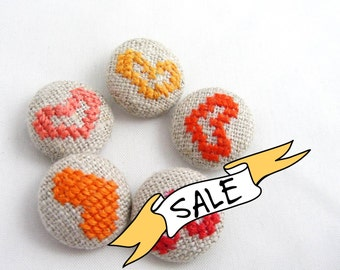SALE - Orange Hearts - Hand Embroidered Buttons