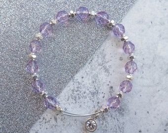 Lilac and silver beaded bangle