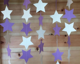 Purple and Ivory Garland, Purple and Ivory Star Garland, Purple Party Decorations, Star Decorations, Purple and Ivory
