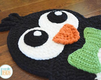 Handmade Crochet Penguin Rug with Green Bow Tie - READY to SHIP
