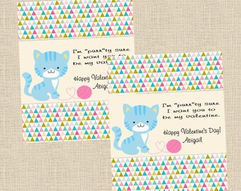 Valentine DIY Printable Fresh & Fun Personalized Kitten Cat Card