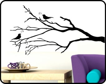 """Winter Tree Branch Wall Decal with Song Birds - removable vinyl sticker decor 42"""" x 23"""""""