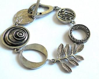 Statement jewelry, silver bracelet, asymmetric bracelet, boho chic bracelet, asymmetrical jewelry, gift for her, silver metal jewelry