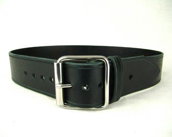 Black Leather Belt Mens Belt Leather Belt for Women Double Bar Stainless Steel Roll Buckle