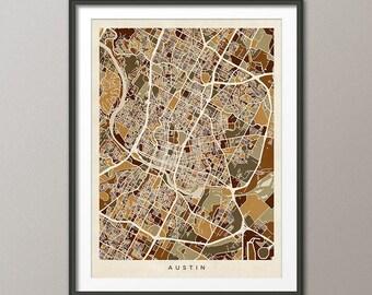 Austin Map, Austin Texas City Map, Art Print (2945)