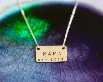 Mama Necklace - Gold Mom Necklace - Mom Necklace - New Mom Gift - Mommy Necklace - Gifts For Mom -Rectangle Charm - Mama Jewelry - Mom Gift