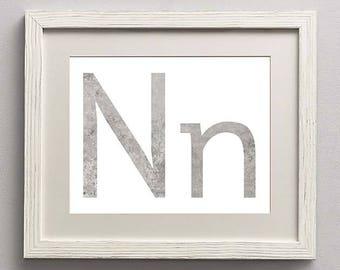 Letter N | Nursery Print | Nursery Art | Alphabet | Instant Download | Digital Print | Wall Art | Gray | Initials | Grey | Gender Neutral