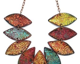 Polymer clay necklace, polymer clay jewelry, boho jewelry