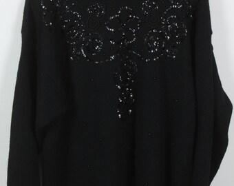 Vintage Sweater, Vintage Knit Pullover, black sequins, 80s, 90s, oversized look