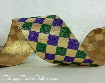 """Wired Ribbon, 2 1/2"""" wide, Purple, Green, Gold Harlequin Glitter - TEN YARD ROLL -  """"Court Jester New Orleans 40""""  Wire Edged Ribbon"""