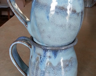 Set of Two Mugs, Pottery Mug, Handmade Mug, Handthrown Light Blue Mug, 16 oz Mug, Stoneware Mug, Handmade Mug, Wheel Thrown Mug, Coffee Mug