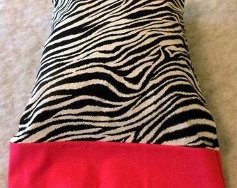 Pillowcase Travel Size Zebra Stripe with Hot Pink