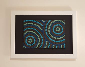 Painting acrylic Aboriginal style - shades of Blues and Browns