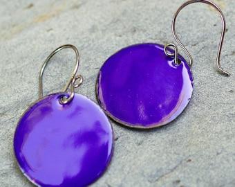 Large Enamel Copper Disc Earrings Cobalt Blue