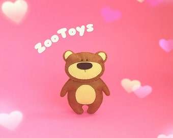 Felt Teddy bear Stuffed toy bear Plush toy bear Ornament bear Woodland bear Forest animal Cute bear toy Nursery toy Decor baby room