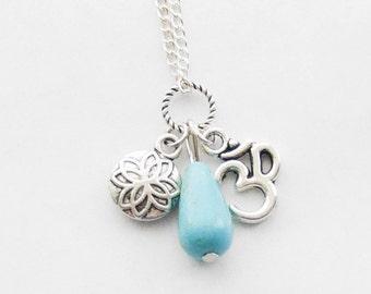 Zen Necklace, Namaste Necklace, Turquoise Teardrop Pendant, Silver Om Necklace, Lotus Pendant, Yoga Ohm Pendant Necklace, Yoga Zen Jewelry