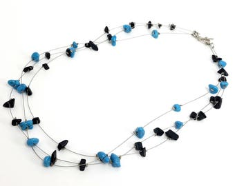 Turquoise and Black Stone Three-strand Necklace