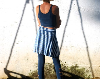 Mini Skirt - Striped Navy Blue White Organic Cotton Rib Knit - Teen Clothing - Back to School