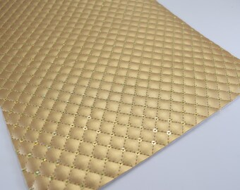 QUILTED GOLD SEQUIN leather sheet,8x11 faux leather,gold quilted sheet,gold faux leather, gold vegan leather, quilted sequin, quilted fabric