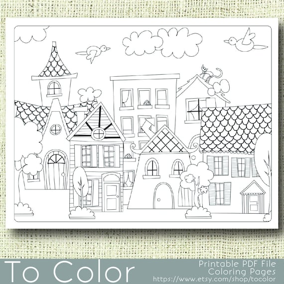Printable Houses Coloring Page For Adults PDF JPG Instant Download Book Sheet Grown Ups