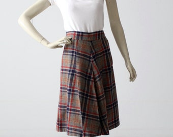 1950s plaid skirt, pleated wool skirt