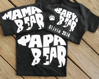 Mommy and Me Outfits, Matching Family, Mother's Day Gift, Personalized Baby, Mama Bear, Papa Bear, Baby Bear, New Mom Gift, Family Shirts