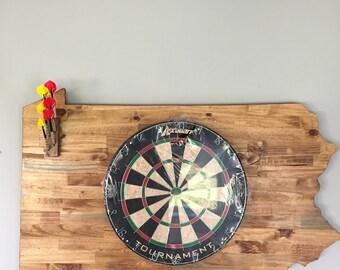 Handmade Custom State Outline Dart Board w/ darts