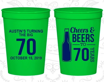 70th Party Favor Cups, Cheers and Beers, Cheers to 70 Years Cups, Party Favor Cups, Cheers Party Cups, Cheers Birthday Cups (20161)
