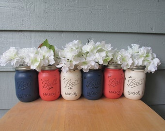 Painted and Distressed Ball Mason Jars- Coral, Navy and Cream-Set of 6-Flower Vases, Rustic Wedding, Centerpieces
