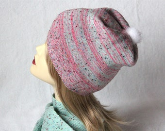 Cashmere and merino wool  hat bubble-gum with mink pompon