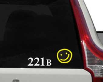 Sherlock 221b and Smiley Face Decal