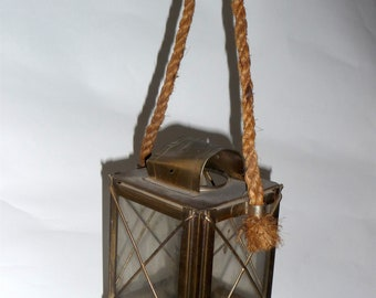 Lantern brass VINTAGE - brass and rope