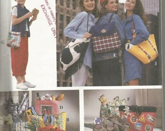 1990s Purses Handbags Back Pack Lunch Bag Tote Seven Styles Simplicity 8852 Uncut FF Vintage Sewing Pattern