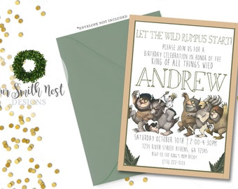 Wild Thing Birthday Invitation, Printable, Where the Wild Things Are, Childrens Party Theme, Children book theme, Boys Birthday, Baby Shower