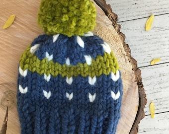 Custom Kids Chunky Knit Hat, Fair Isle Knit, Knitted Pom Pom Hat, Baby Knit Hat || Kids Fair Isle Pom Pom Beanie