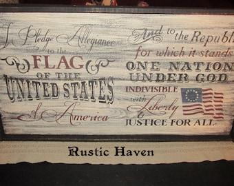 """Primitive Pledge of Allegiance Framed Sign 13.5"""" x 24.75"""""""