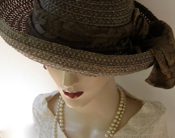 ON SALE/ Olive and Sage Green Straw Summer Hat