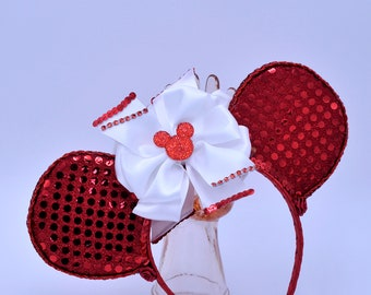 Red Sequin Mouse Ears Headband