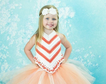 Crocheted Summer Tangarine Dream Backless Halter Top Baby , Girls,