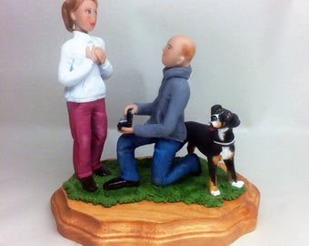 Custom Engagement Couples Sculpture with Pets