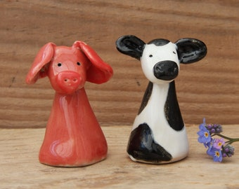 Friesian Cow & Pig, Pottery Farm Animals, Love Black and White Cows, Love Pink Pigs, Handmade in Dorset, Unique Design
