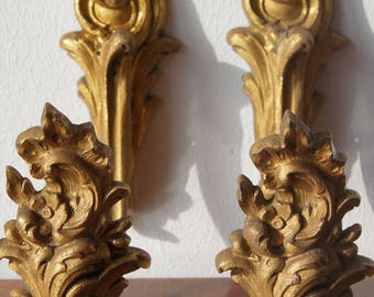 Antique french gilded bronze curtain tie backs Set of 2