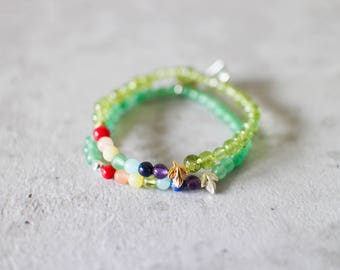 Irya bracelet - 4mm peridot with gold leaf or aventurine with matte silver pewter leaf delicate seven chakra rainbow bracelet
