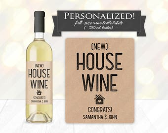 New House Wine Bottle Label - Custom Housewarming Gift Idea, Realtor New Home Neighbor Present, Rustic Kraft Congratulations, Personalized