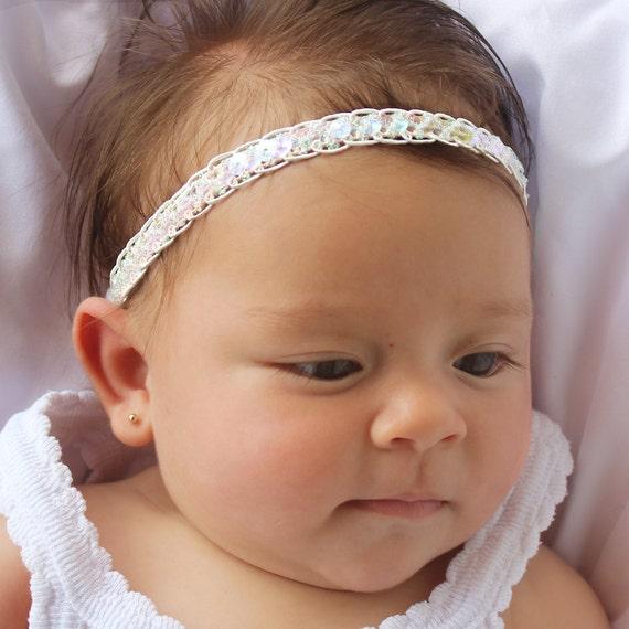 Baby Headband, Sequin Headband, White Halo Headband, White Baby Headband, Princess Headband, Christening Headband, White Headband