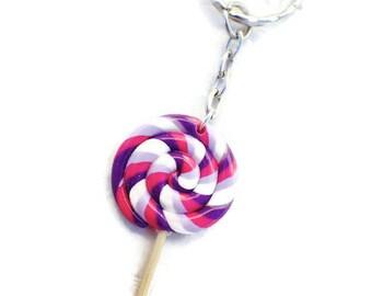 My handmade polymer clay purple rose Strawberry lollipop keychain