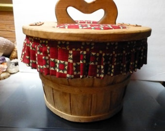 Wooden bushel country basket lined rustic charm cottage chic red hearts