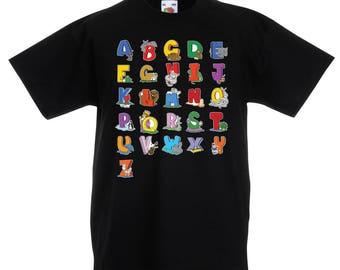 Kids t-shirt, ABC Shirt, Alphabet Print Toddler Top, Colorful Baby Girl Shirt, Little Boy Top, Back to School Cotton Tee, 4654K