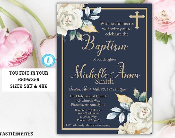 Navy Blue Gold Ivory Rose Baptism Invitation Template, Baptism Invitation, Baptism Template, Blue and Gold Baptism,Instant Download, Baptism